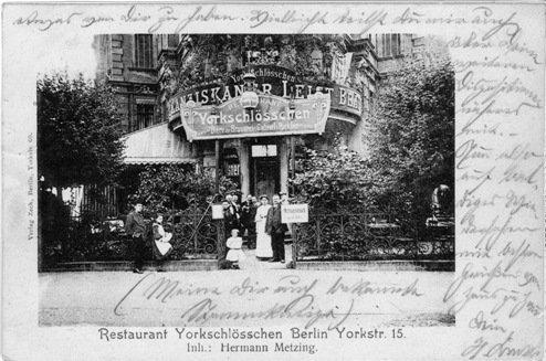 """Postkarte vom """"Yorkschlösschen"""", Berlin 1910 Quelle: Olaf Dähmlow"""