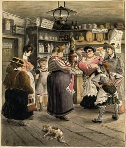 """Gemälde """"Frauen in der Kneipe"""" von Heinrich Zille (Berlin um 1900) Quelle: New York Times; Link: http://commons.wikimedia.org/wiki/File:Zilles8.jpg?uselang=de"""