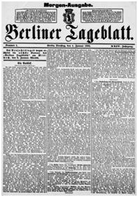 "Ausschnitt aus der Morgenausgabe des ""Berliner Tageblatt"" vom 01.01.1895 mit Reaktionen zur Aufhebung des Bierboykotts Quelle: Staatsbibliothek zu Berlin; Link: http://zefys.staatsbibliothek-berlin.de/dfg-viewer/?set[mets]=http%3A%2F%2Fzefys.staatsbibliothek-berlin.de%2Foai%2F%3Ftx_zefysoai_pi1%255Bidentifier%255D%3D96511484-b22d-47a7-bdff-f8f2d1467562"