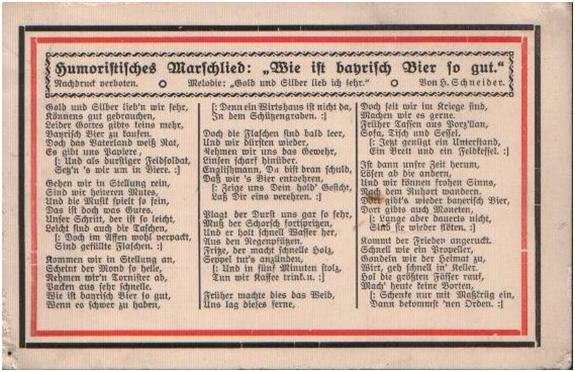 """Humoristisches Marschlied: """"Wie ist bayrisch Bier so gut."""" Quelle: http://www.zum.de/psm/1wk/karten4.php"""